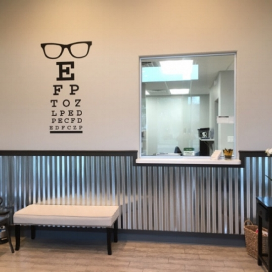Our eye chart wall decal is front and center in this optometry office. Photo credit: Jaime Rodriquez