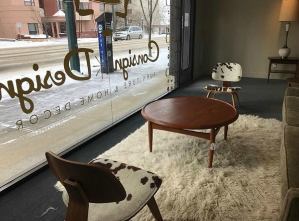We can take your logo and make a decal for your storefront. Photo credit:  John & Lynne, Consign Design Furniture & Home Decor.