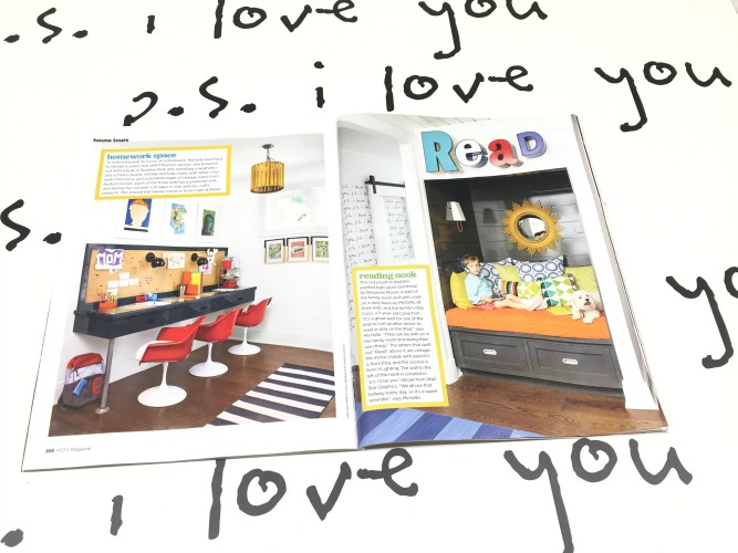 We're thrilled to have our PS I Love You wall decals featured in the July/August issue of HGTV Magazine. Check out Michelle Hogue's house tour, pages 150-163 and see her wall in the hallway featuring our wall decals on page 157.