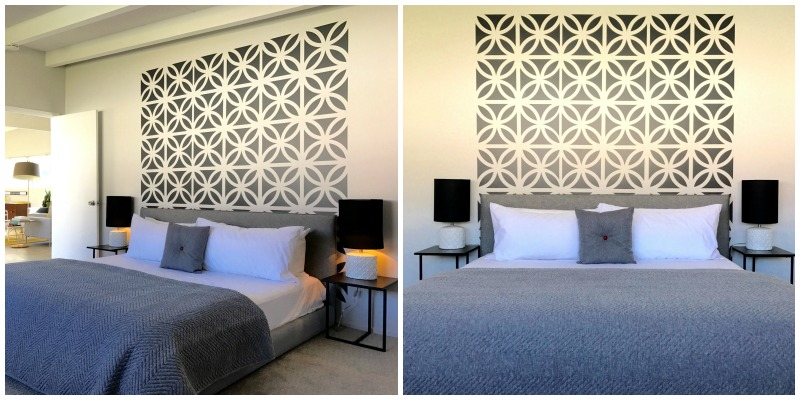 Hands down, we get to work with some of the greatest clients. This stunning bedroom from the Sunhaus Palm Springs vacation rental is complete, featuring our Palm Springs Bricks wall decals. (shown here in dark grey) Photo credit: Jarrett Mason