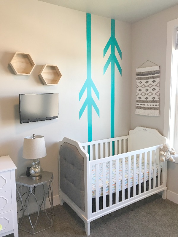 Nursery vibes, featuring our arrow wall decals in turquoise.  Photo credit: Becca Owens
