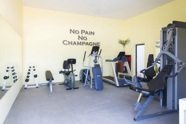 We had the pleasure of designing this custom quote for the recently remodeled workout room at the Champagne Shores Villa in Anguilla.  Photo credit and interior designer: Alexis Parent Interiors