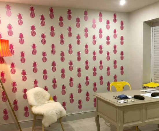 A fun office makeover from Alex Darby with Pink Pineapples Co., featuring our  pineapple wall decals  (shown here in pink, of course).
