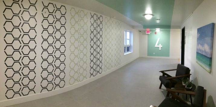 4TH FLOOR - Tennessee Green Luxury Apartments in Atlantic City, NJ.  Our hexagon outline wall decals  are shown here in black and celedon. Photo courtesy of Lynn Xanthos - Inglese Architecture + Engineering