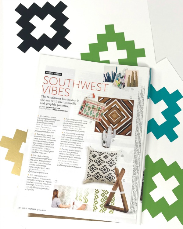 We are thrilled for our inclusion in Better Homes and Gardens DIY Magazine Spring 2019 edition. Our  geometric pattern wall decals  are shown being installed here in olive green. All the southwest vibes coming at you! Thank you Natalie Dayton!