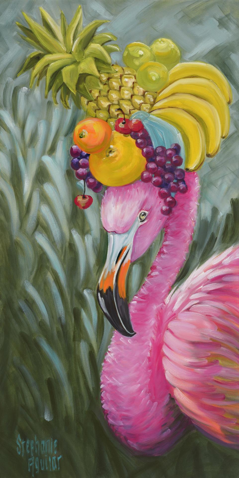 Flamingo with Fruit Basket, 2017