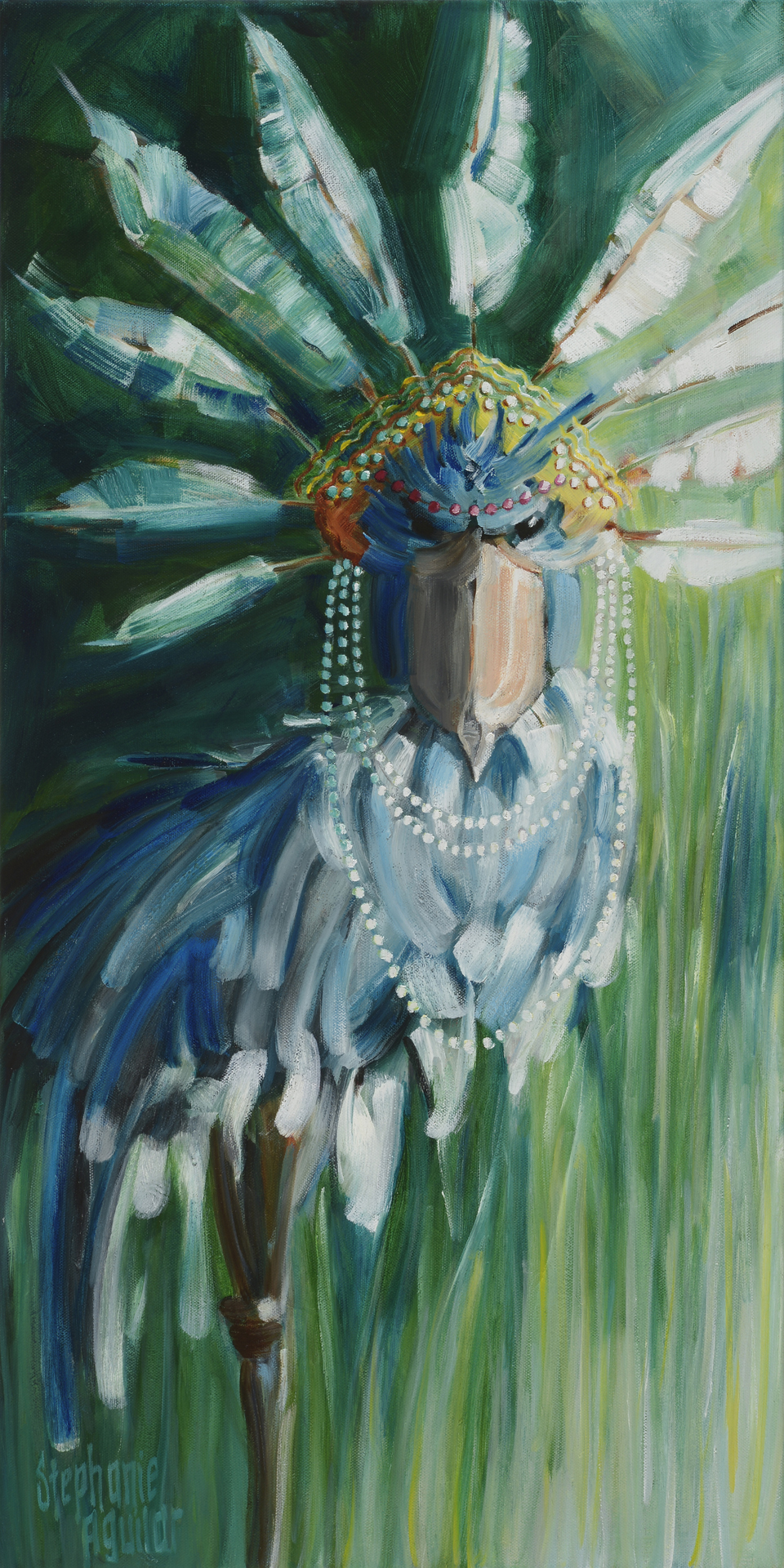 Stork with Feathered Crown, 2017