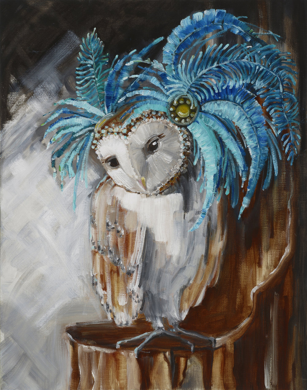 Owl with Blue Fascinator, 2017