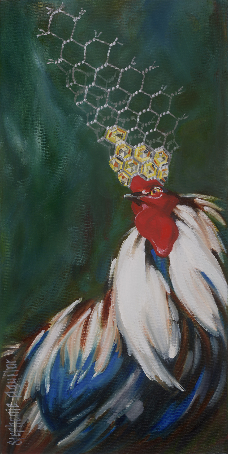 Chicken with wire crown, 2017