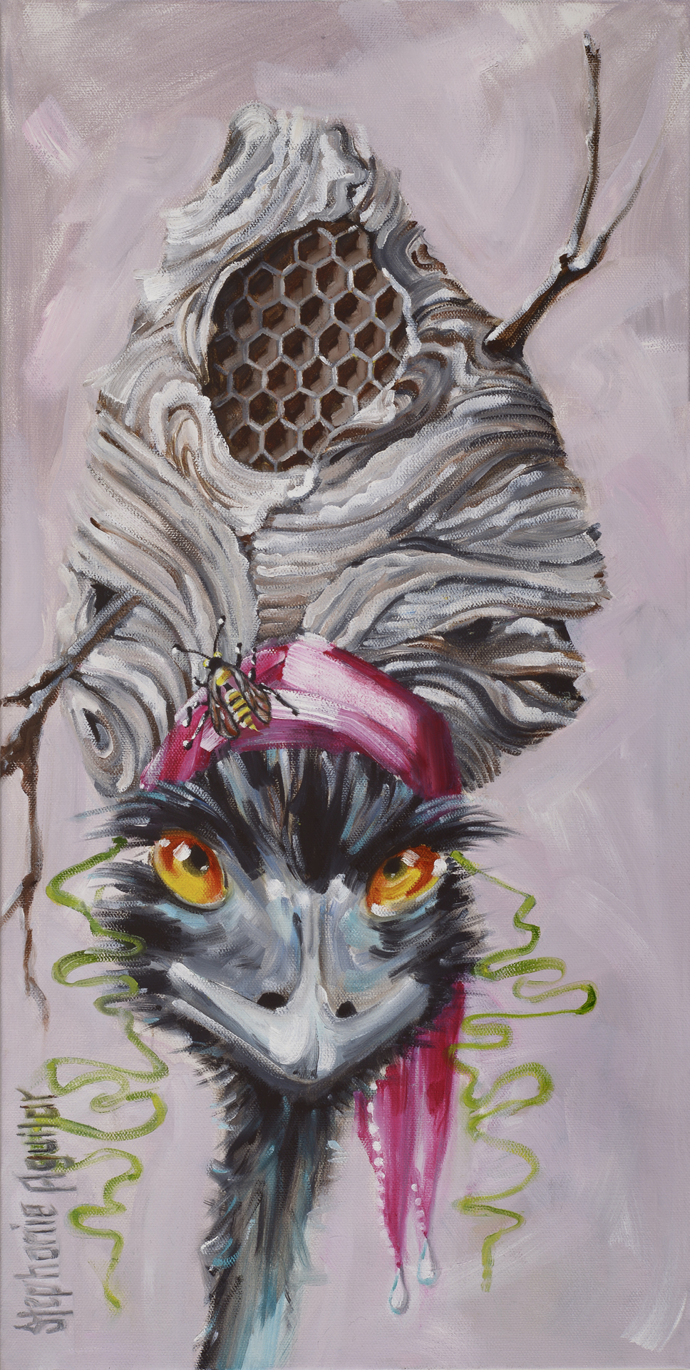 Emu with Hornet's Nest, 2017, 12x24, oil