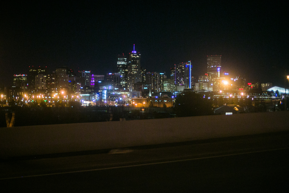 Denver Skyline at night from the Highway