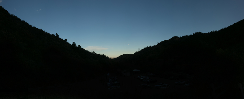 Panorama near the base of the Incline looking toward Manitou Springs at dusk