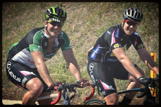 Geoff Coombes (Founder) & Cory Morris riding up Cunninghams Gap - QLD Country Tour 2013