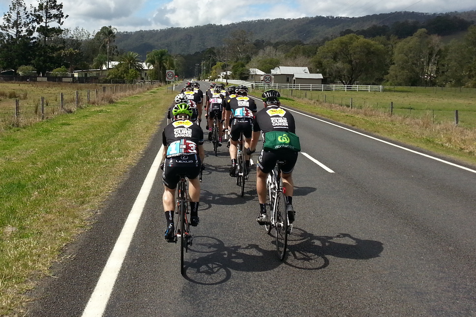 Taken from my bike at the rear of the peloton.