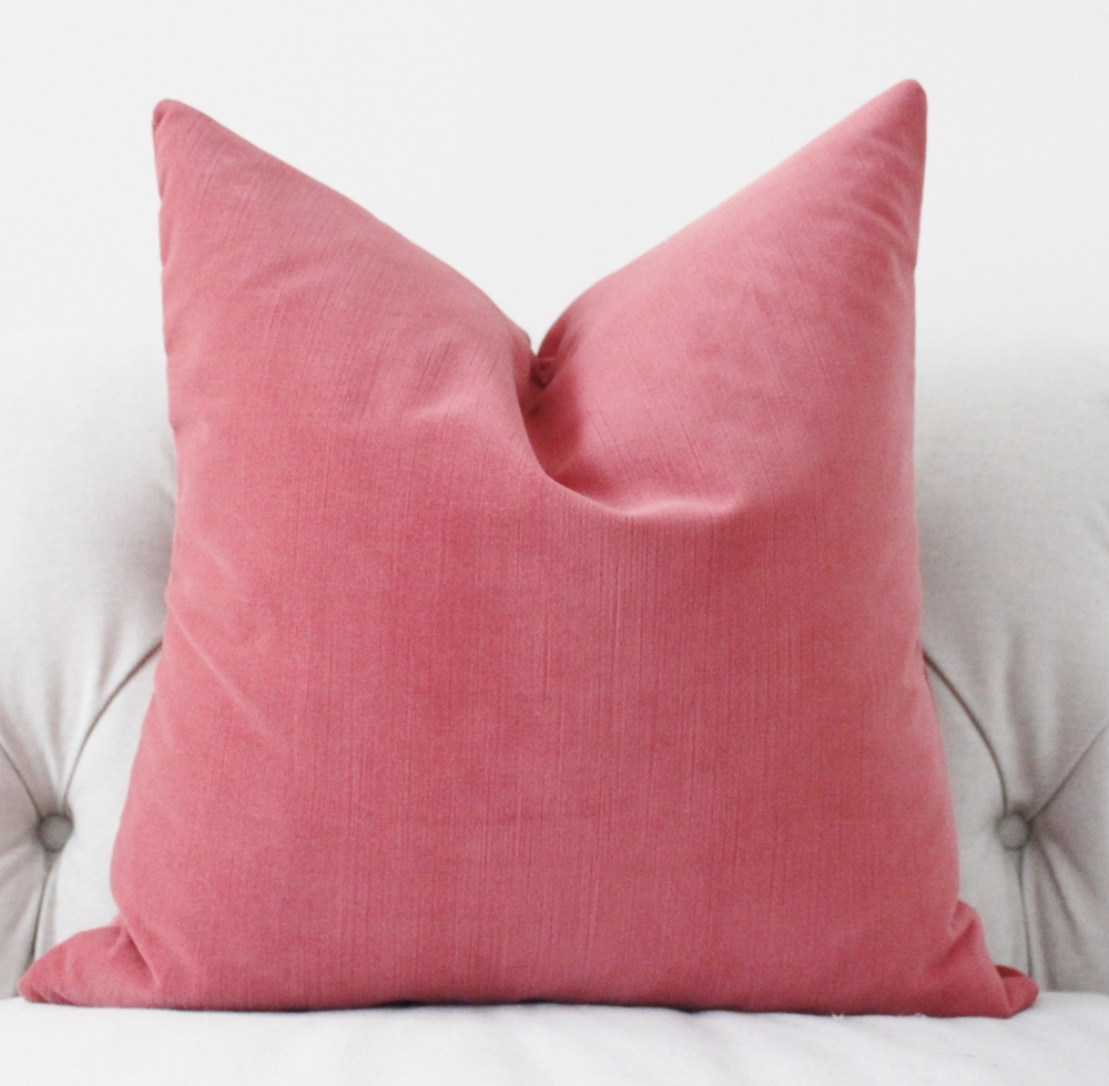 Motif Pillows Strawberry Pink Velvet Pillow Cover