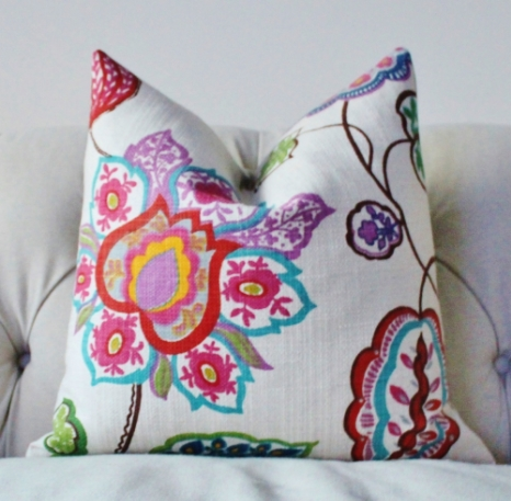 Our Jacobean Floral Pillow has almost all of these colors!