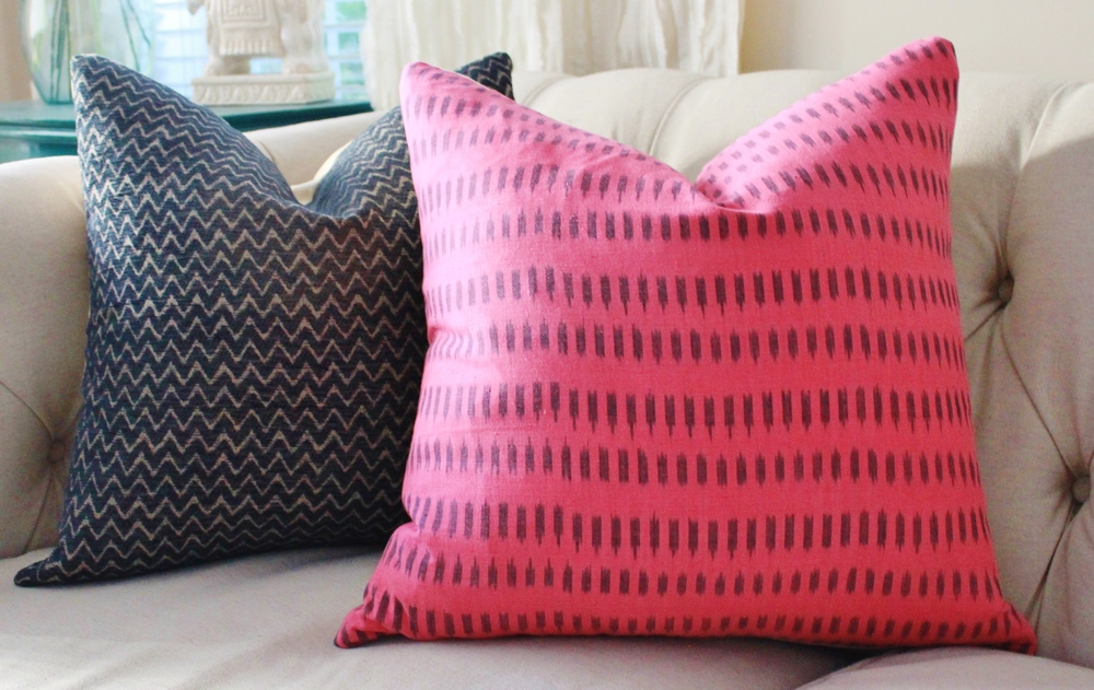 (Left) From the look, to the feel, and color the Quadrille Pink and Lilac is extravagant.  (Above) The Fuchsia Organic Cotton Pillow can stand alone in a room and dazzle in any space.