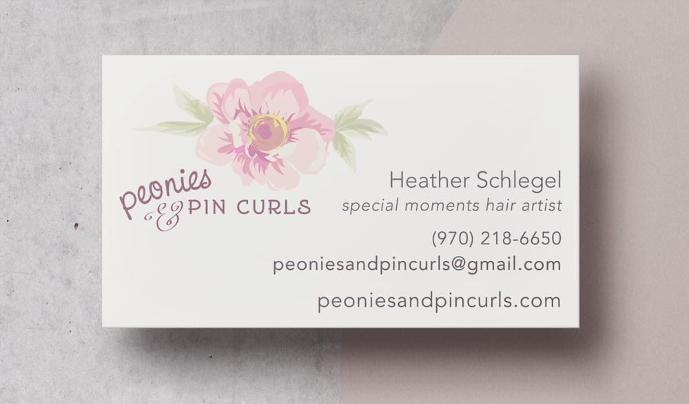 Peonies & Pin Curls Business Card Design