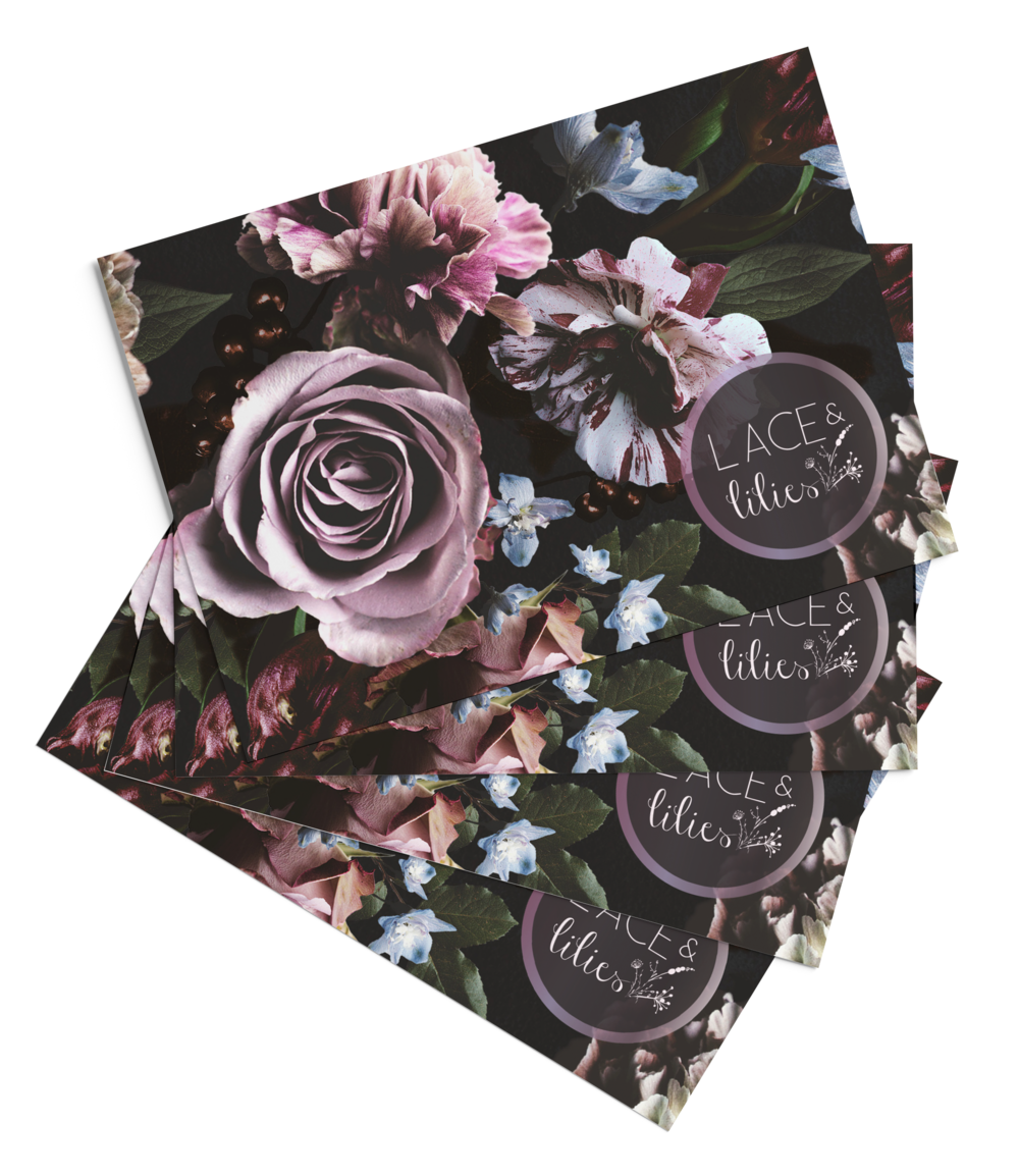 """Lace and Lilies stationery suite design  """"Thank You"""" for past clients."""
