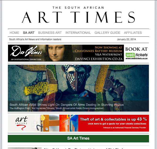 The South African Art Times article (click for full article)