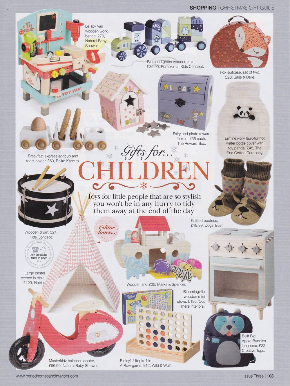 The Christmas edition of Period Homes and Interiors has selected The Reward Box as one of their top Christmas Gift Ideas for kids