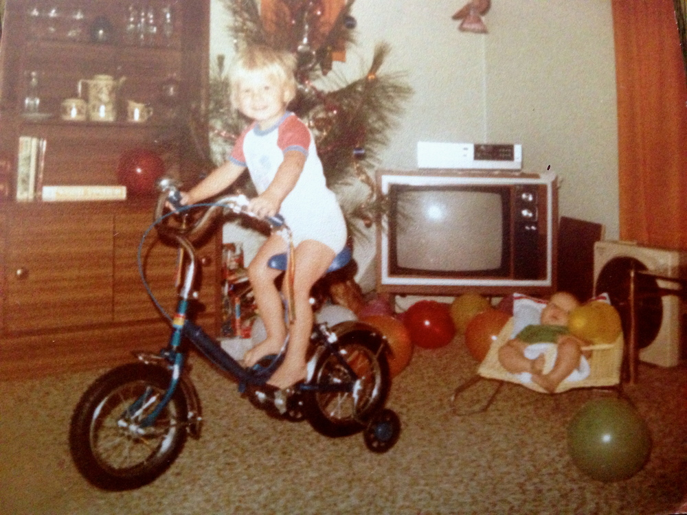 Jonny's first bike. Had to be blue.
