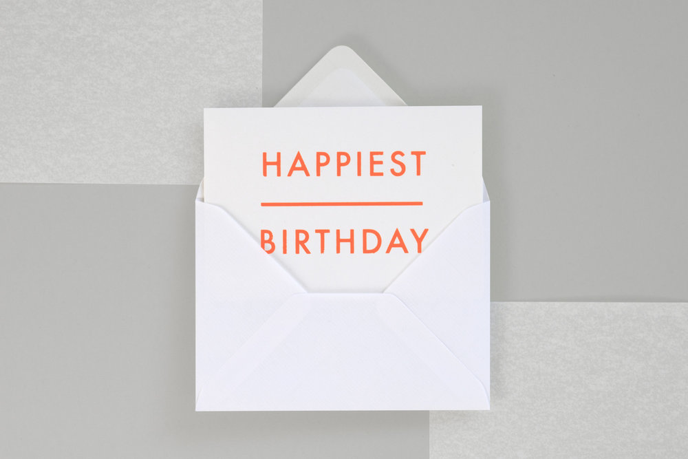 Foil Blocked Happiest Birthday Card Br Fluorescent Orange On White Ola