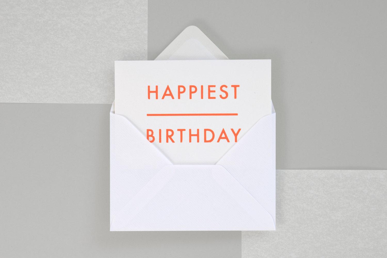 Foil Blocked Happiest Birthday Card Br Fluorescent Orange On White Ola