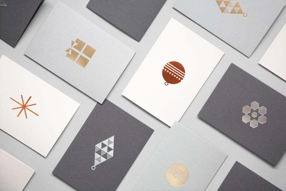 Foil blocked Tree card <br> Silver on Grey — ola