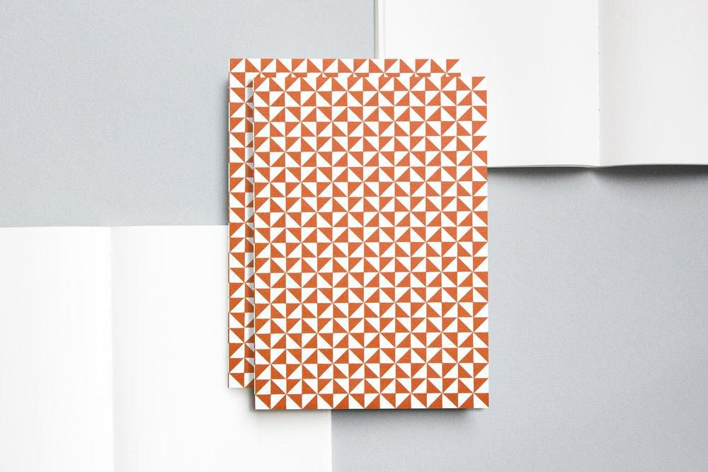 A5021ML - Layflat Notebook, Kaffe Print in Brick Red and Ruled, ola.jpg
