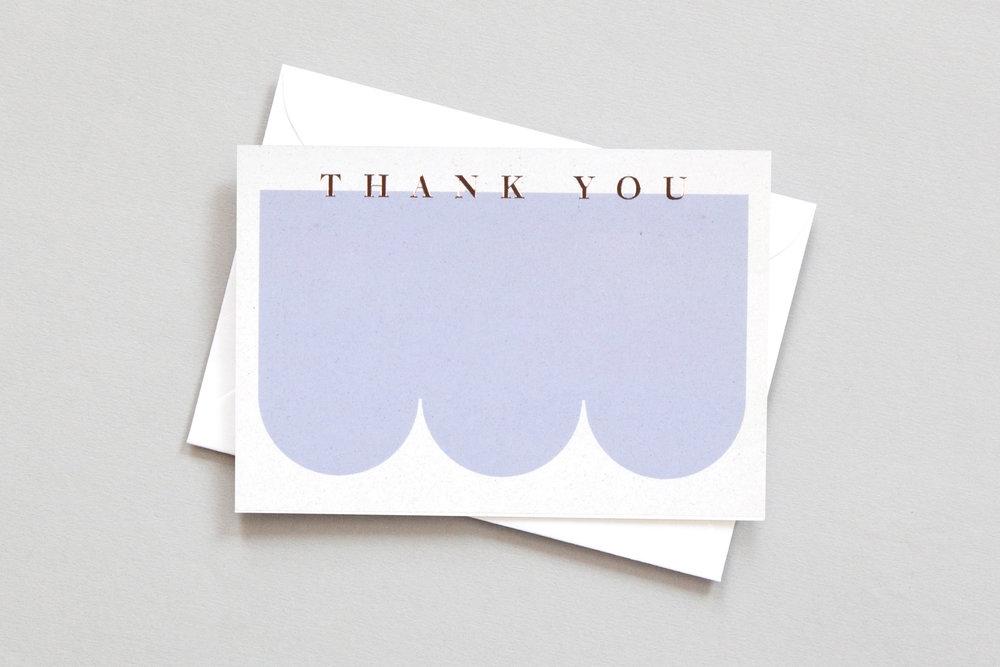 Foil Blocked Thank You Card Br Rose Gold Blue Ola
