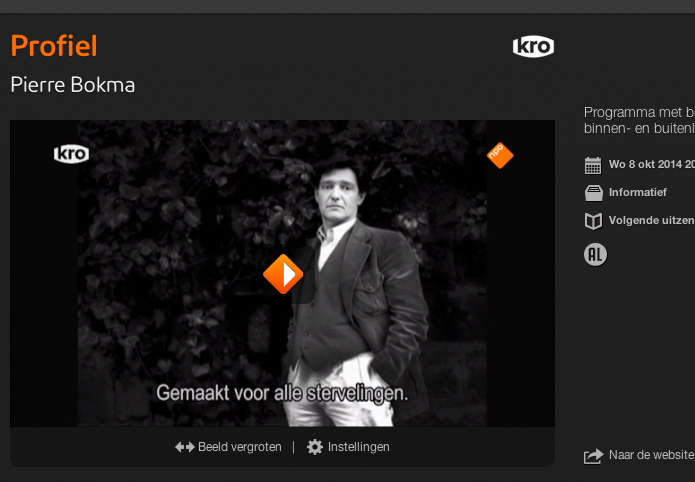 It was broadcasted 8th October NPO2 20:25 KRO Brandpunt Profiel.