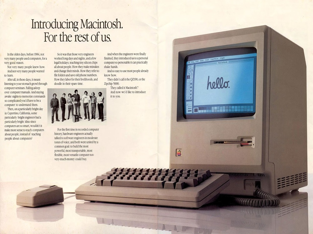 The original Macintosh 128K from 1984.  It's 30 years old in 2014.