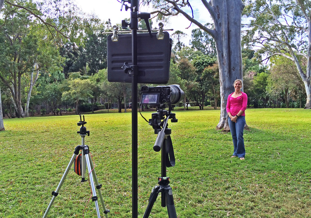 A very budget-conscious rig.  iPhone 5S tripod (left), A6000 (centre) with iPad Air running the teleprompter software.