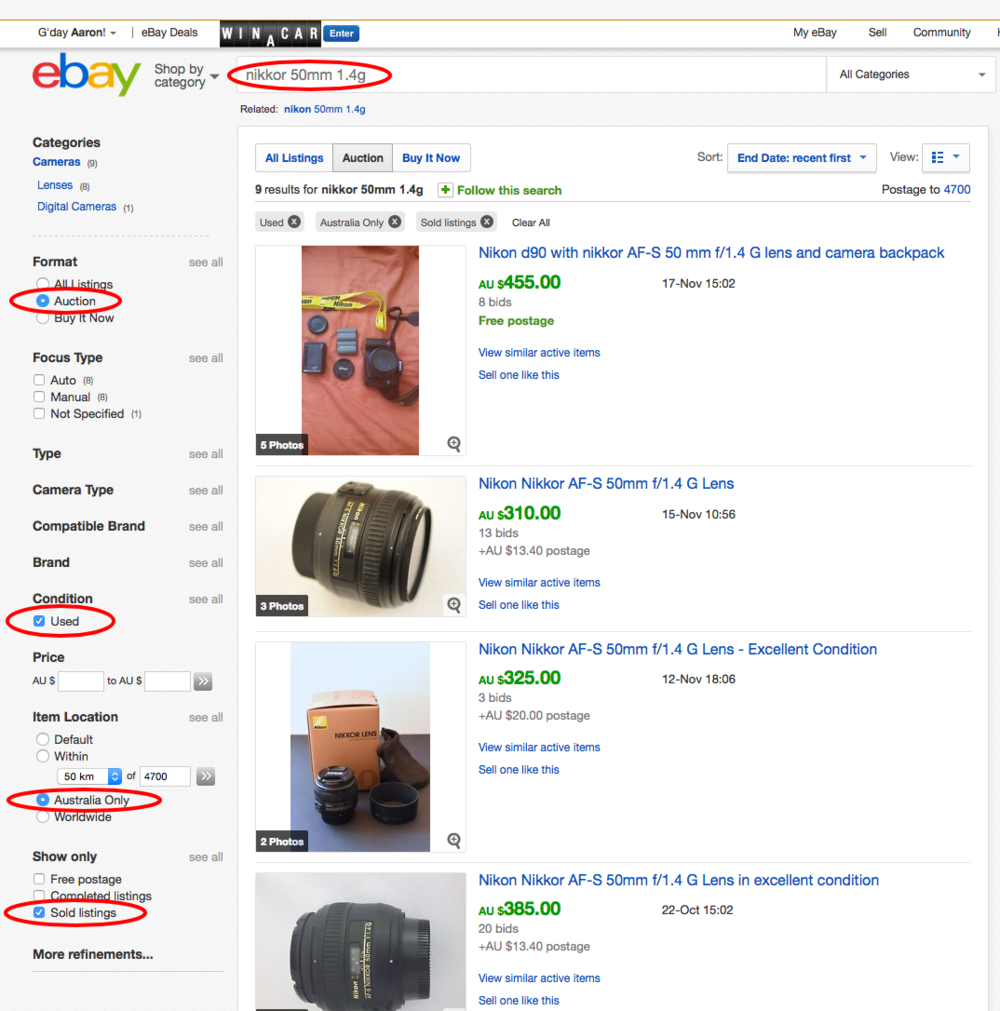 Using eBay for price research.  Look at actual sell prices for previous similar items.