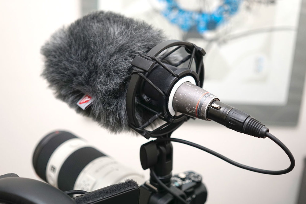 The cold shoe shock mount (sourced from eBay) with white neoprene spacer (just a sacrificed mouse pad trimmed to size) and a Rycote windjammer covering the original foam pop filter.