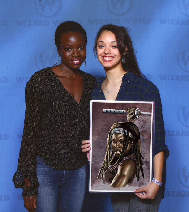 danai gurira plays michonne on the walking dead holding michonne fan art by tony santiago