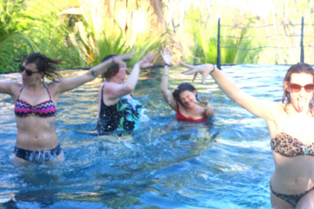 Mama Linda and daughters Becca and Mia are with Rochelle here in the pool celebrating their love of Pound Jewelry while on a Qoya retreat in Costa Rica.