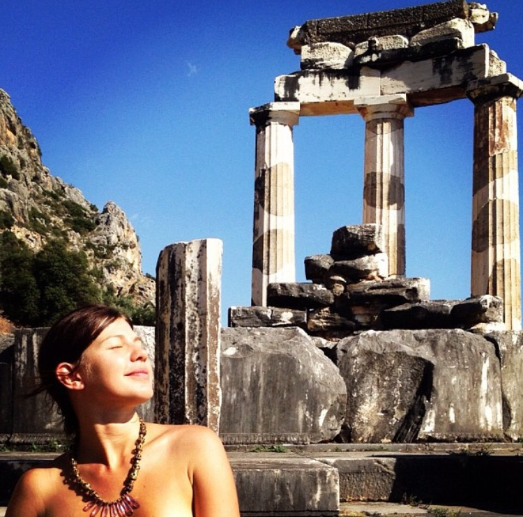 Rochelle may or may not have been so inspired by this Sanctuary of Athena, in Delphi she took her clothes off and kept her POUND jewelry on.