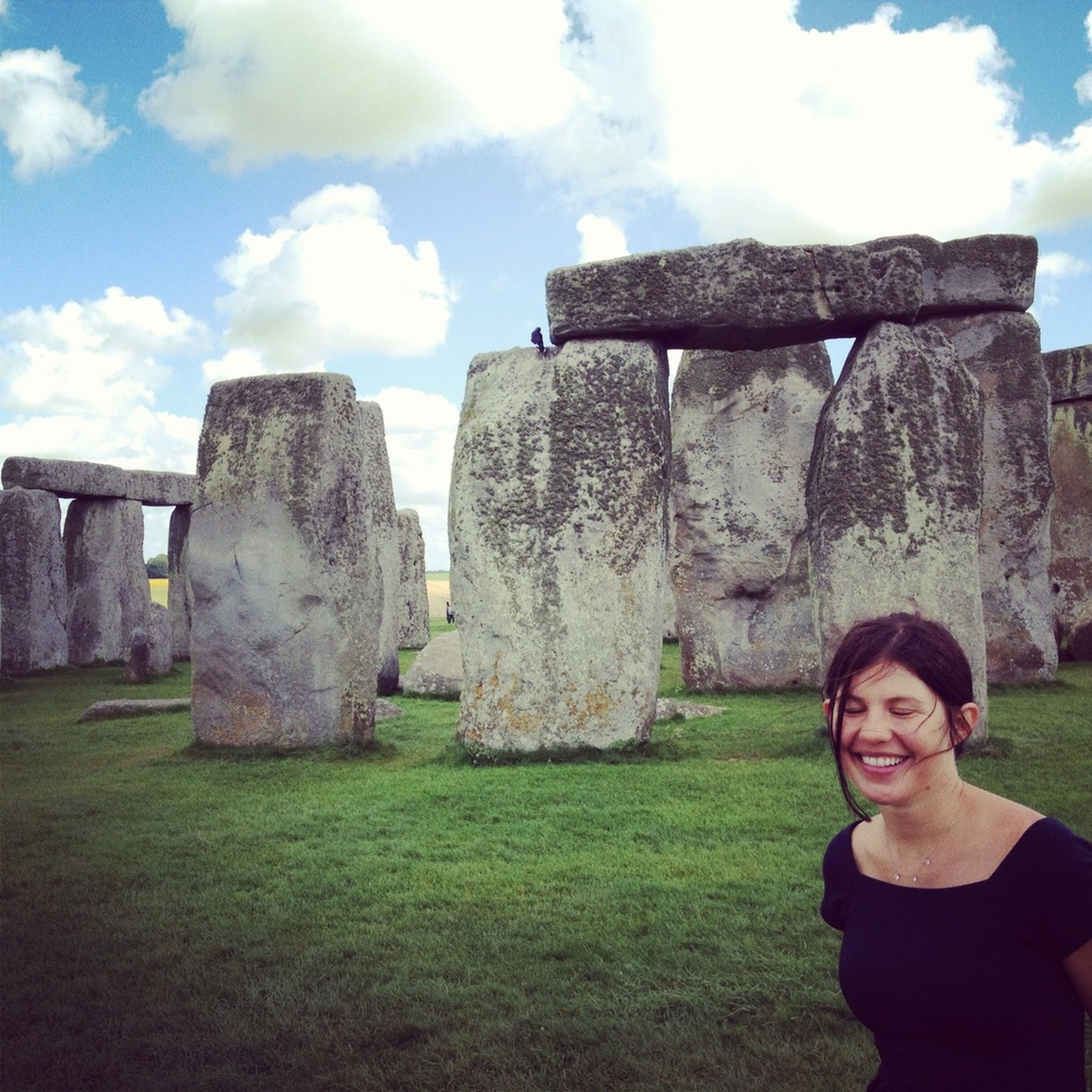 Human eyes closed. Third eye and heart open at Stonehenge.