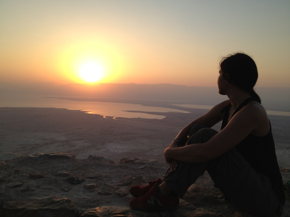 Watching the sunrise over the Dead Sea from Masada