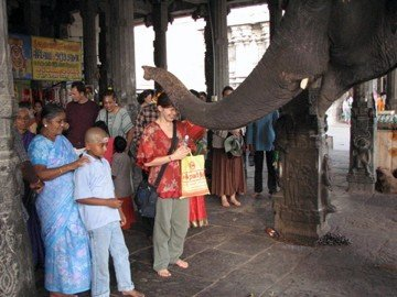 Rochelle in front of a Ganesh temple, being blessed by embodiment of the remover of obstacles himself!