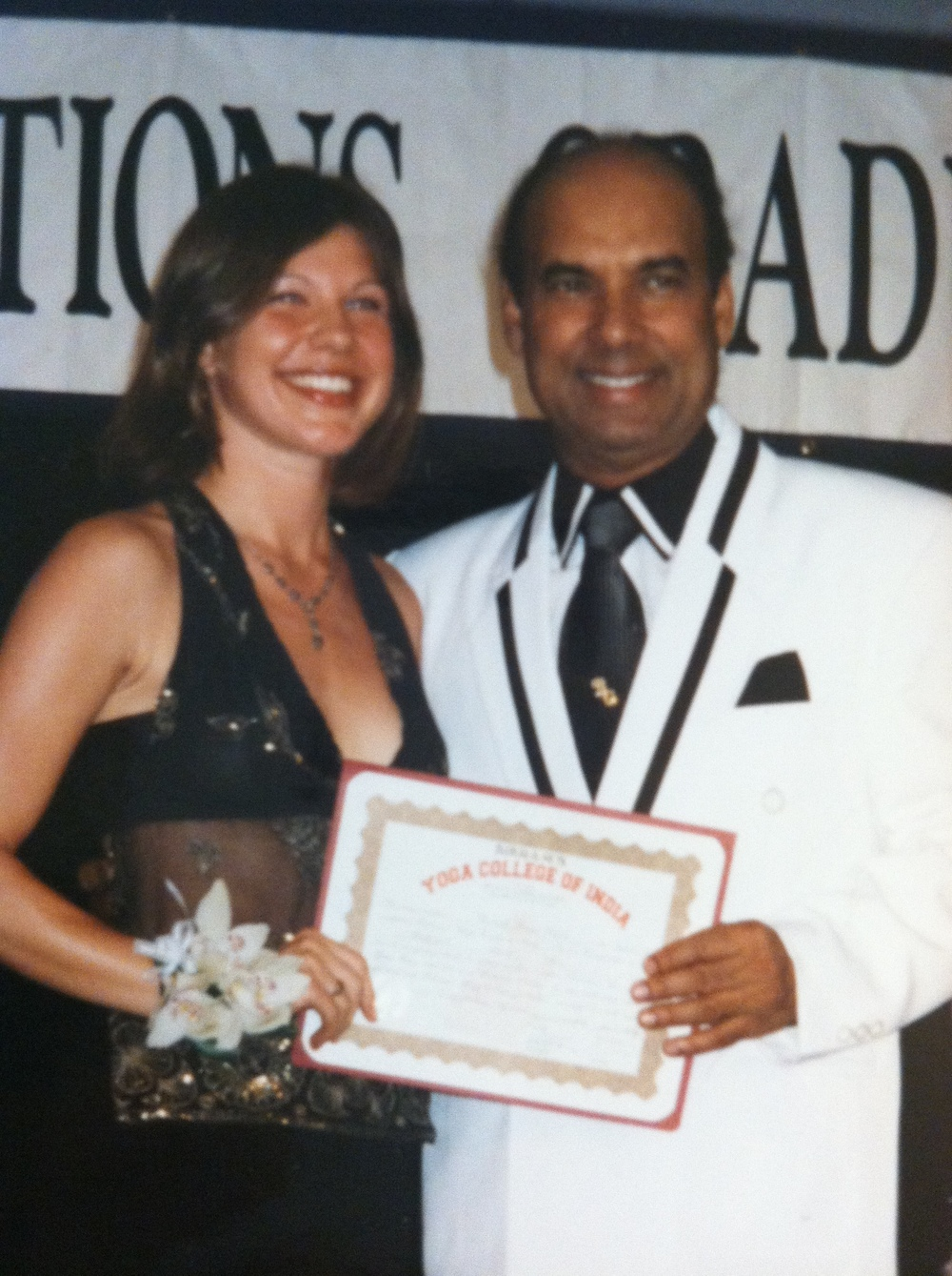 Rochelle at her graduation of Bikram Yoga Teacher Training in 2003