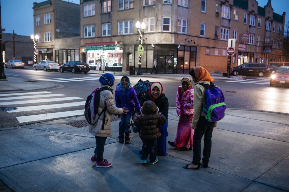 A family near the Rohingya Culture Center in Chicago.