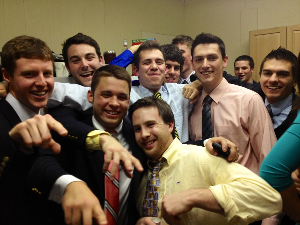 ATΩ brothers celebrating their newly initiated brothers!