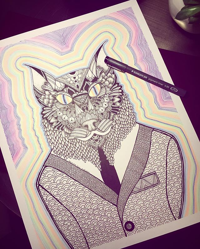 Finally finished this guy for an old high school buddy. Meet the Psychedelic Lynx.