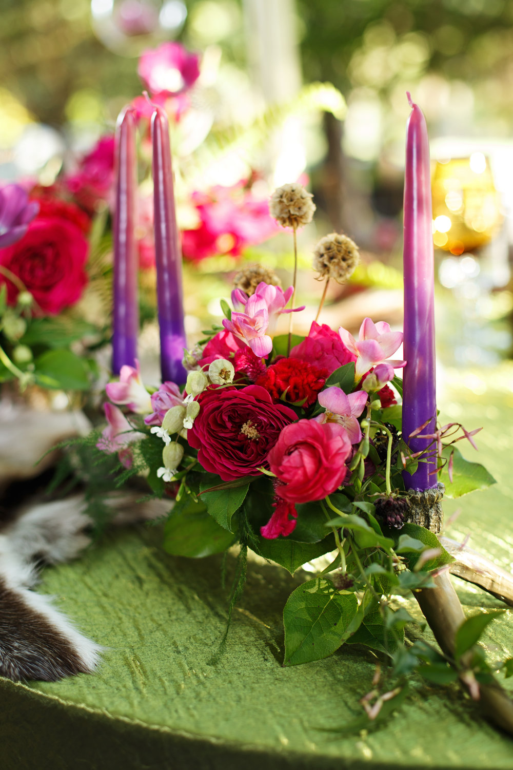 Dip Dyed Candles, Tablescape, Woodland Wedding