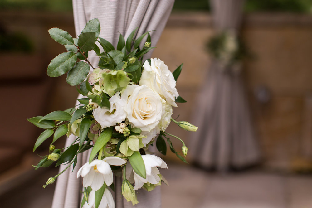 Floral curtain tie back, Umstead Wedding