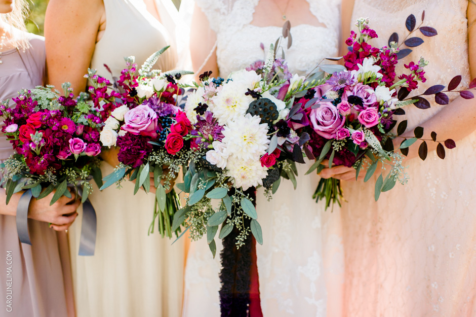 Bouquets, Purple, Burgundy and Magenta Wedding