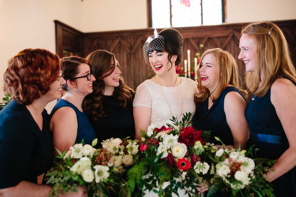 All Saints Chapel Wedding, Bridesmaids and Bridal bouquet